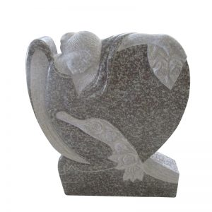 Headstone Engraving Designs with Angel and Flower